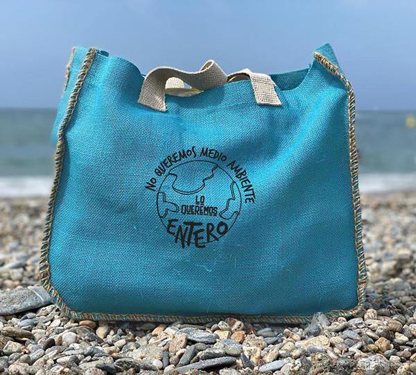 Bolso de playa medio ambiente azul