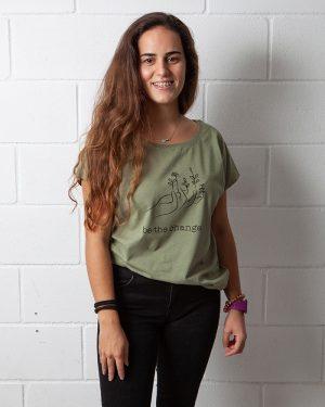Camiseta algodón Be the Change, Algodón orgánico, moda sostenible, moda responsable, moda ecológica, medio ambiente, sostenibilidad, plata tu árbol, ropa sostenible, ropa orgánica, ropa algodón orgánico mujer.